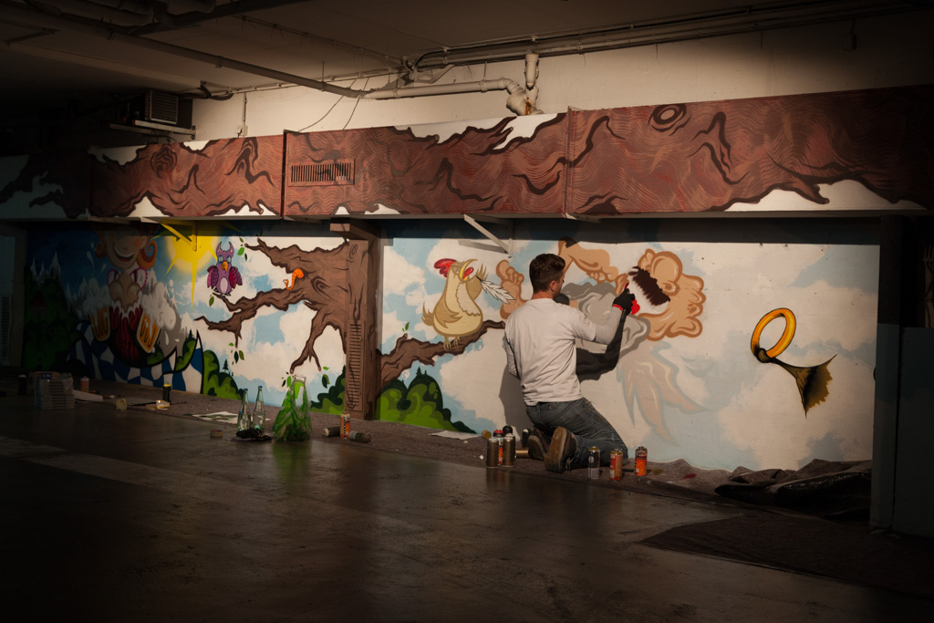 "A fairytale-like night: ""Rotkäppchen vs. Der böse Wolf – Deutsche Romatik trifft Streetart"" (Little Red Riding Hood vs. The Big Bad Wolf – German Romanticism meets Street Art) at the ""Lange Nacht der Münchner Museen"" (Long Night of Munich Museums)"