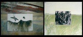 """Kunstwerke """"Flieger in zwei Teilen"""" und """"Soldaten auf Wiese"""""""