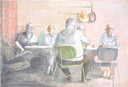 Männergesellschaft, Buntstift, 50 x 73 cm, 2007, 3.000 Euro